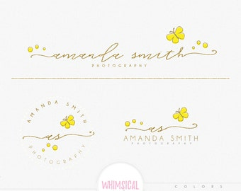 Elegant spring style - Premade PHOTOGRAPHY Logo and Watermark, Classic Elegant Script Font GOLD GLITTER butterfly children Calligraphy