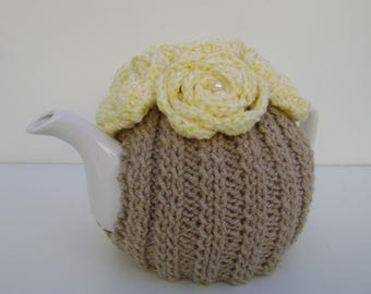 Oatmeal Hand Knit Tea Cozy with Yellow Crocheted Flowers. Teapot Cozy.