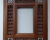 Vintage Wooden Syrian  Eastern Picture Frames or Mirror Frame with Turned Mashrabiya Panels and Inlay