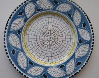 Very Decorative 1950s / 1960s Norwegian Elle Keramik Wall Plate or Large Charger