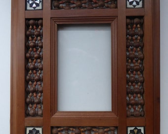 Vintage Wooden Syrian / Eastern Picture Frames or Mirror Frame with Turned Mashrabiya Panels and Inlay