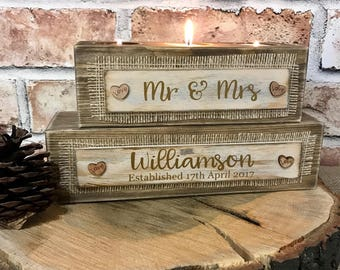 Mr & Mrs Personalised tealight holder wedding gift present
