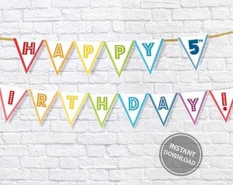 Rainbow birthday banner, rainbow party decorations, Rainbow bunting, bright colours birthday banner, 5th birthday party wall decor, DIGITAL