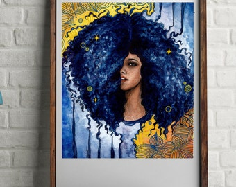 Blue Curls, watercolor, Portrait, printable wall art, colorful illustration, painting, ink drawing, wall art, printables
