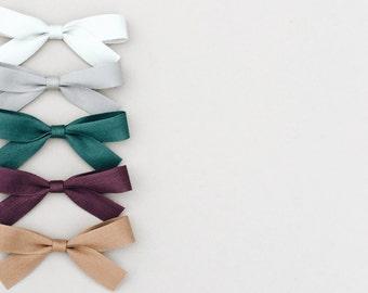 Eloise bow, baby bows, toddler headband, nylon headband, cotton twill, baby accessories