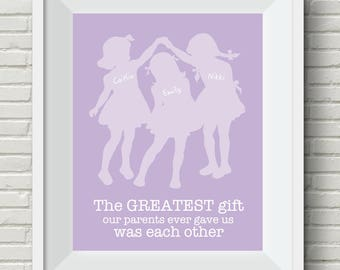 Personalized sisters art, three sisters wall art, siblings wall art, shared room art for girls, girls wall art, sisters, choose your colors
