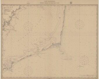 Wimble Shoals to Oracoke Inlet -1914 - Outer Banks Cape Hatteras Avon Rodanthe North Carolina - Nautical Map - Reprint  80000 AC Chart 1232