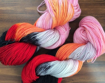 "Hand dyed sock yarn, 80/20 superwash bluefaced Leicester yarn ""Hades loves Persephone"""