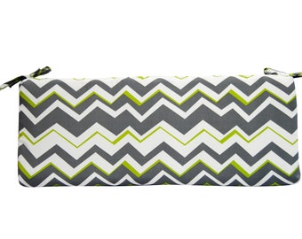 "Lime, White, Grey Chevron / Zig Zag Cushion with ties for Bench ~ Swing ~ Glider, Choose Size ~ 2"" or 3"" thick foam"