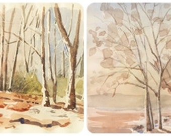 LOT two original watercolors Sunset Trees landscape watercolour decor painting sunset painting trees painting original wall decor art