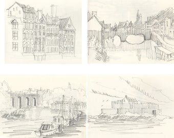 Lot of 4 (four) pencil drawing prints of Ille et Villaine Brittany France french art Brittany art french deco french drawings original print