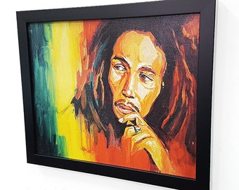 Bob Marley Jamaica - Framed Giclee Wall Art Canvas-Poster-Paint-Painting--