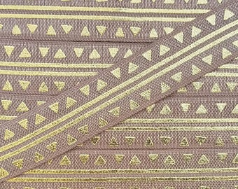 5/8 GINGERSNAP with Gold Tribal Stripes + Triangles Fold Over Elastic