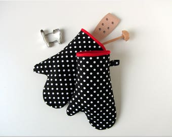 Oven glove oven mitt pot holder oven cloth dots black red white