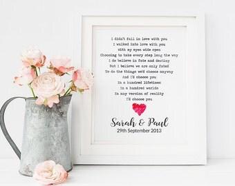 Wedding gift first dance lyrics -first dance lyrics print-  personalised wedding gift print- anniversary gift- first dance lyrics