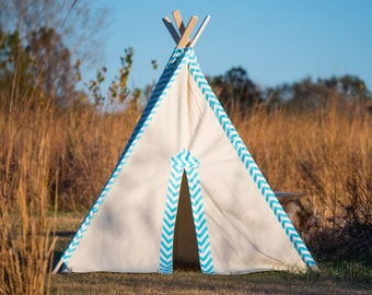 Tent No. 0311- Kid's Teepee Play Tent - Light Blue Chevron