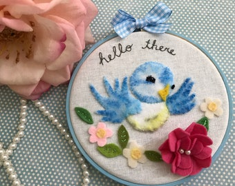 Kitsch Retro Bluebird Blue Bird  Embroidery Hoop Wall Art, 3D Felt Wall Art , New Home  Baby Gift