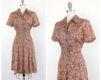 60s Shirtwaist Print Brown Dress / 1960s Vintage Button Down Dress / Medium / Size 8