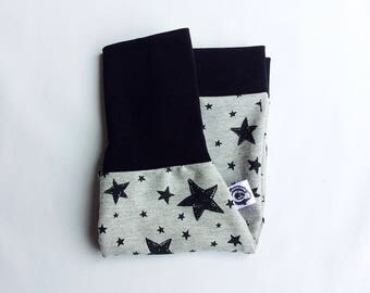Evolving short trousers, shorts unisex boy, expandable clothing for children 0-10 years, french cotton shorts grey stars black