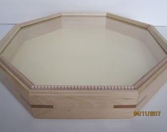 """Yellow Birch Octagonal Shadow Sailor's Valentine Box - 14-5/8"""" - #20"""
