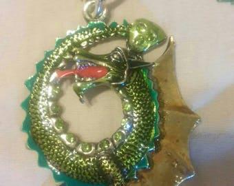 Amazing large enameled Gothic dragon pendant