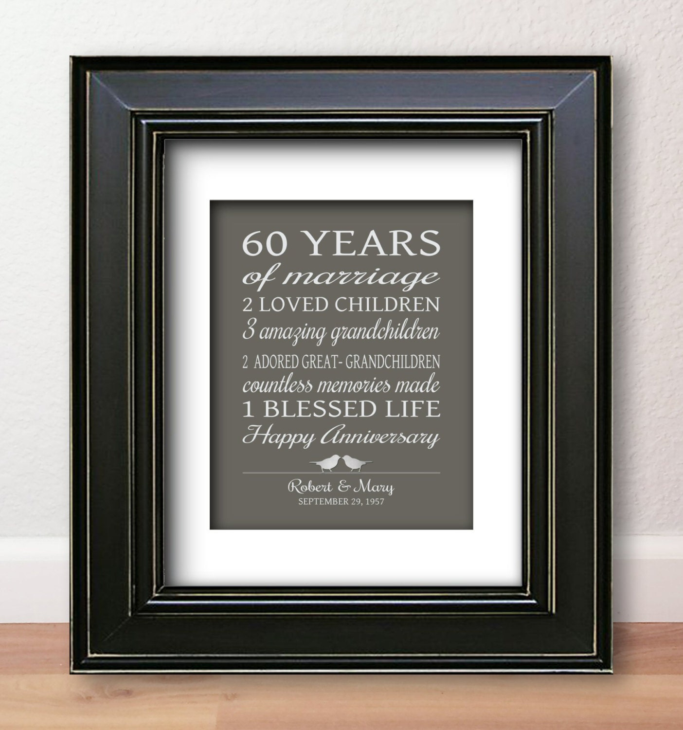 Gifts For 60th Wedding Anniversary: 60th Anniversary Gift For Parents 60 Years Married Sign
