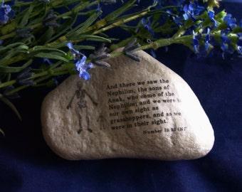 Joshua Caleb Spies Promised Land Nephilim Anak Rock Art Numbers 13:33 Israel New