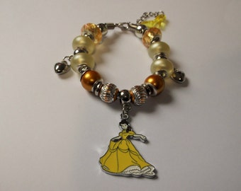 Disney PRINCESS BELLE Inspired Handmade Adjustable European Beaded Charm Bracelet