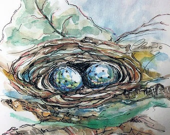 Watercolor Nest, Limited Edition Art Prints, Egg Print, Bird Nest Print, Watercolor Art, Illustration, Blue Eggs, Sketch Art