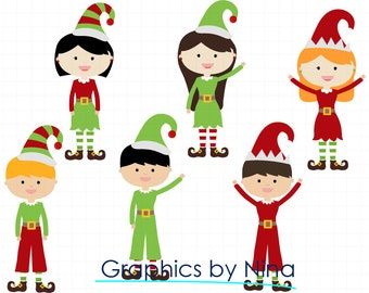 INSTANT DOWLOAD  Santa's Elves Clipart Scrapbook for Personal and Commercial Use