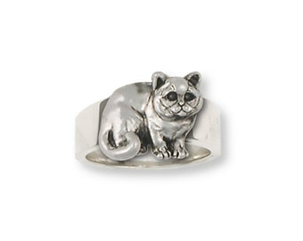 British Shorthair Ring Jewelry Sterling Silver Handmade Cat Ring BRS5-R