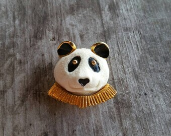 Adorable Razza Panda Head Brooch