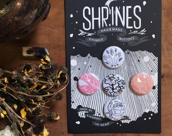 Handmade Button Pack | Shrines Buttons | Floral Button Badge | Snake Pin | Snake Button Badge