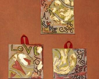 Set of 3 mini inspirational  tennis paintings