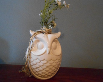 White owl vase