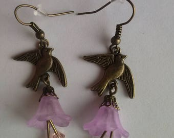bird earrings flower lucite flower purple kawaii