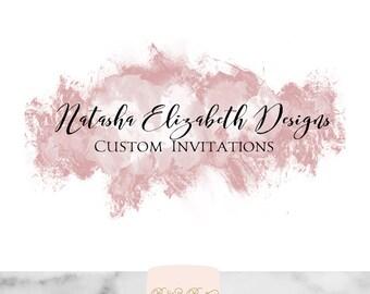 Custom Logo Design Mauve Dusty Pink splash Watercolor Calligraphy Swash Simple Glam Paintstroke Digital Printable