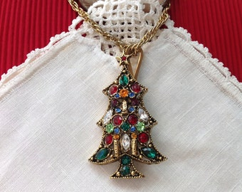 Book Piece, Antique Gold Christmas Tree Pin Brooch, Multi Colored Rhinestones