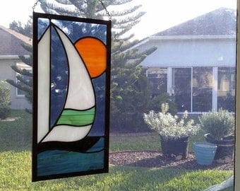 Stained Glass Sailboat,Handmade Gift,Gift for Dad, Suncatcher,Home Decor,Nautical Decor,Sunset,Window Hanging,Glass Art,Stained Glass Gift