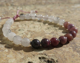 Ruby and Pink Sterling Silver Tourmalinated Quartz, Birthstone September, Birthstone July, adjustable bracelet
