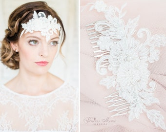 Bridal Hair Comb Wedding Headpiece with Beaded Lace Pearls and Flowers in Ivory Floral Vintage  Headdress Fascinator