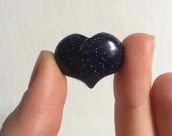 Blue Goldstone Pocket Heart