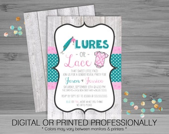 Lures or Lace Gender Reveal Party Invitation - Custom - Printable