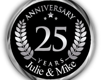 Silver Emblem Anniversary Hershey Kisses Stickers - Personalized 25th Anniversary Kiss Favors