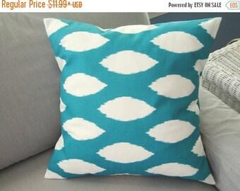 CLEARANCE Pillow Cover, Pillow, Turquoise Pillow, Decorative Throw Pillow, Throw Pillow, Accent Pillow, Turquoise Ikat, Cushion, Various Siz
