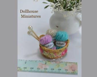 1/12 scale dollhouse miniature yarn basket, 3 skein miniature yarns with basket and needles
