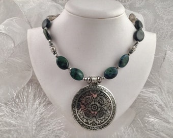 Necklace and bracelet set  African Turquoise  beads,  with silver plated accents