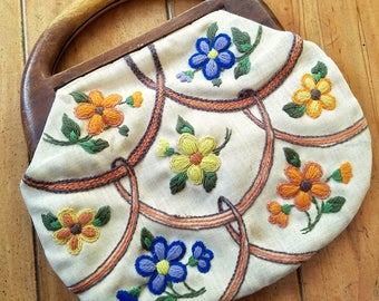 PRICE REDUCED! Vintage Bermuda Bag Floral Embroidered Purse Clutch Wooden Handle Circa 1940s