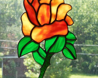 Stained Glass Rose Suncatcher - Handcrafted in Tennessee