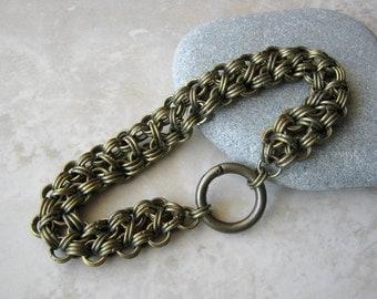 Large Men's Bracelet, Men's Large Chain Bracelet, Large Bracelet, Chunky Bracelet, Antique Brass Bracelet, Rugged Bracelet, Chain Bracelet